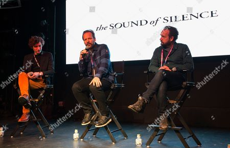 """Michael Tyburski, Peter Sarsgaard, Will Bates. Michael Tyburski, Peter Sarsgaard and Will Bates seen during """"The Sound of Silence"""" panel at the Last Call Presents the Complex Music in Film Summit, at Park City Live, in Park City, Utah"""