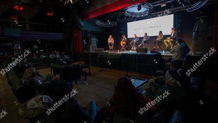 """Stock Picture of Ben Nabors, Michael Tyburski, Peter Sarsgaard, Will Bates, Tony Revolori, Ben Lyons. Ben Nabors, Michael Tyburski, Peter Sarsgaard, Will Bates, Tony Revolori and Ben Lyons seen during """"The Sound of Silence"""" panel at the Last Call Presents the Complex Music in Film Summit, at Park City Live, in Park City, Utah"""