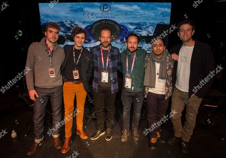 """Ben Nabors, Michael Tyburski, Peter Sarsgaard, Will Bates, Tony Revolori, Ben Lyons. Ben Nabors, Michael Tyburski, Peter Sarsgaard, Will Bates, Tony Revolori and Ben Lyons seen during """"The Sound of Silence"""" panel at the Last Call Presents the Complex Music in Film Summit, at Park City Live, in Park City, Utah"""