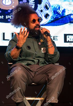 """Reggie Watts seen during """"The Culture of Music Today"""" panel at the Last Call Presents the Complex Music in Film Summit, at Park City Live, in Park City, Utah"""