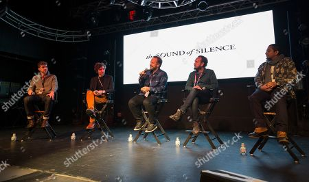 """Stock Image of Ben Nabors, Michael Tyburski, Peter Sarsgaard, Will Bates, Tony Revolori. Ben Nabors, Michael Tyburski, Peter Sarsgaard, Will Bates and Tony Revolori seen during """"The Sound of Silence"""" panel at the Last Call Presents the Complex Music in Film Summit, at Park City Live, in Park City, Utah"""