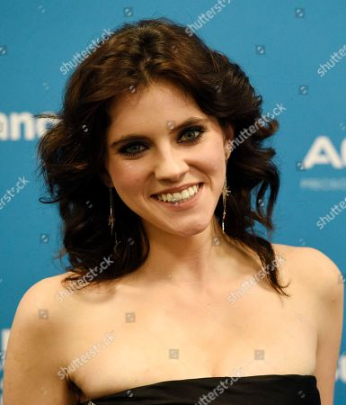 """Kara Hayward, a cast member in """"To the Stars,"""" poses at the premiere of the film during the 2019 Sundance Film Festival, in Park City, Utah"""
