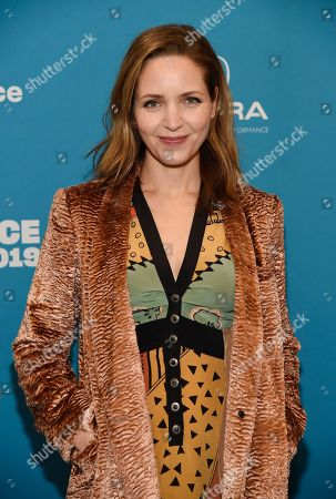 """Jordana Spiro, a cast member in """"To the Stars,"""" poses at the premiere of the film during the 2019 Sundance Film Festival, in Park City, Utah"""