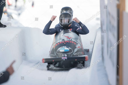 The Team Brad Hall and Nick Gleeson from Great Britain reacts during the two-man race at the Men's Bobsleigh World Cup in St. Moritz, Switzerland, 26 January 2019.