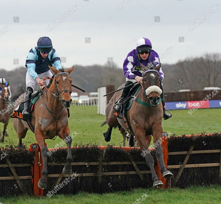 Doncaster Racecourse. The olbg.com Yorkshire Rose Mares Hurdle Race. Lady Buttons (right) ridden by Thomas Dawson wins from Indefatigable ridden by Gavin Sheehan.