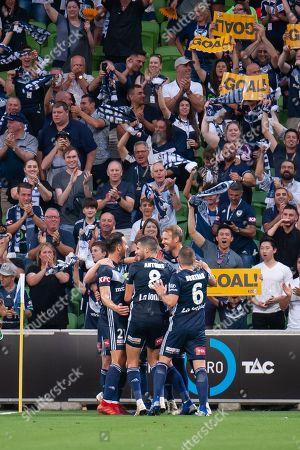 Melbourne Victory forward Ola Toivonen (11) celebrates as he scores the opening goal