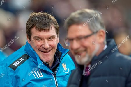 Tommy Wright, manager of St Johnstone FC shares a joke with Craig Levein, manager of Heart of Midlothian before the Ladbrokes Scottish Premiership match between Heart of Midlothian FC and St Johnstone FC at Tynecastle Stadium, Edinburgh