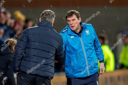 Tommy Wright, manager of St Johnstone FC shakes hands with Craig Levein, manager of Heart of Midlothian at the final whistle of the Ladbrokes Scottish Premiership match between Heart of Midlothian FC and St Johnstone FC at Tynecastle Stadium, Edinburgh