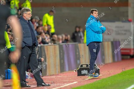 Tommy Wright, manager of St Johnstone FC can only watch as his team lose 2-0 to Hearts during the Ladbrokes Scottish Premiership match between Heart of Midlothian FC and St Johnstone FC at Tynecastle Stadium, Edinburgh