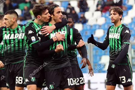 Sassuolo's Alessandro Matri (C) celebrates with his teammates after scoring the 3-0 lead during the Italian Serie A soccer match between US Sassuolo Calcio and Cagliari Calcio in Reggio Emilia, Italy, 26 January 2019.