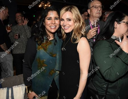 "Nisha Ganatra, Cara Buono. Director Nisha Ganatra, left, and actress Cara Buono seen at the Chase Sapphire hosted after party for ""Late Night"" at Chase Sapphire on Main at Sundance Film Festival 2019 on in Park City, Utah"
