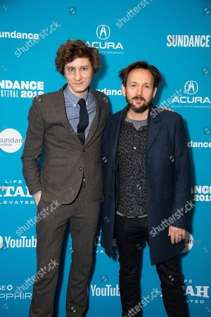 """Michael Tyburski, Will Bates. Writer/director Michael Tyburski, left, and composer Will Bates pose at the premiere of """"The Sound of Silence"""" during the 2019 Sundance Film Festival, in Park City, Utah"""