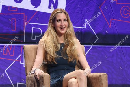 """Ann Coulter participates in the """"AAA: Ask Ann Anything"""" panel at Politicon at the Los Angeles Convention Center in Los Angeles. President Donald Trump defended himself Saturday from a conservative backlash that he himself unleashed when he ended the 35-day-old partial government shutdown without money for his promised border wall. Coulter, a big supporter of a barrier on the southern border, called Trump the """"biggest wimp"""" ever to occupy the Oval Office"""