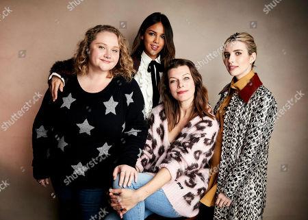 "Danielle Macdonald, Eiza Gonzalez, Milla Jovovich, Emma Roberts. Danielle Macdonald, from left, Eiza Gonzalez, Milla Jovovich and Emma Roberts pose for a portrait to promote the film ""Paradise Hills"" at the Salesforce Music Lodge during the Sundance Film Festival, in Park City, Utah"