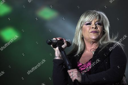 Samantha Fox performs during 'Yo fui a EGB' musical tour at WiZink Center in Madrid, Spain, 26 January 2019.