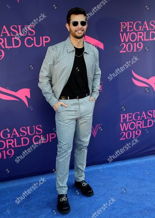 Actor Rafael de la Fuente, of Venezuela, poses on the blue carpet at the Pegasus World Cup Invitational Horse Race, at Gulfstream Park in Hallandale Beach, Fla