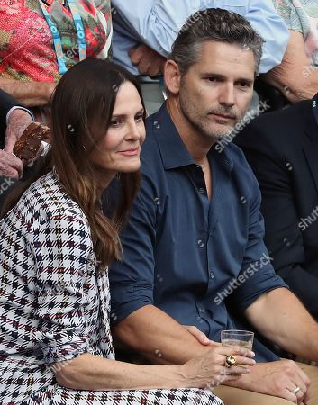 Australian actor Eric Bana (R) and wife Rebecca Gleeson (L) are seen in the crowd before the start of the men's singles final between Novak Djokovic of Serbia and Rafael Nadal of Spain at the Australian Open Grand Slam tennis tournament in Melbourne, Victoria, Australia, 27 January 2019.
