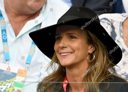 Stock Photo of Australian actress Rachel Griffiths is seen in the crowd during the the men's singles final between Novak Djokovic of Serbia and Rafael Nadal of Spain at the Australian Open Grand Slam tennis tournament in Melbourne, Victoria, Australia, 27 January 2019.