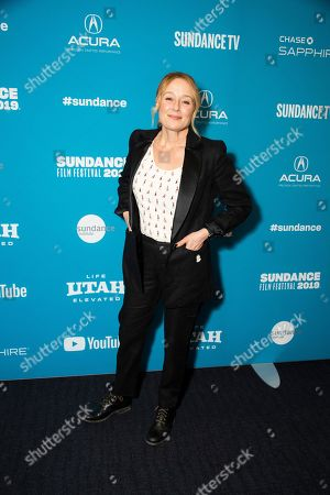 """Jennifer Ehle poses at the premiere of """"The Wolf Hour"""" during the 2019 Sundance Film Festival, in Park City, Utah"""