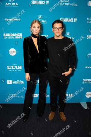 "Maritza Veer, Alistair Banks Griffin. From left, model/actress Maritza Veer and writer/director Alistair Banks Griffin pose at the premiere of ""The Wolf Hour"" during the 2019 Sundance Film Festival, in Park City, Utah"
