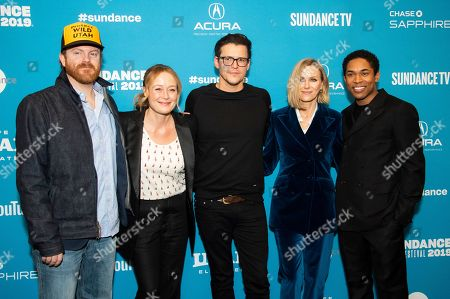 "Jennifer Ehle, Jeremy Bobb, Alistair Banks Griffin, Naomi Watts, Kelvin Harrison Jr. From left, actors Jennifer Ehle and Jeremy Bobb, writer/director Alistair Banks Griffin and actors Naomi Watts and Kelvin Harrison Jr. pose at the premiere of ""The Wolf Hour"" during the 2019 Sundance Film Festival, in Park City, Utah"