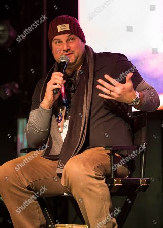 """Max Adler seen during the """"Mope"""" panel at the Last Call Presents the Complex Music in Film Summit, at Park City Live, in Park City, Utah"""