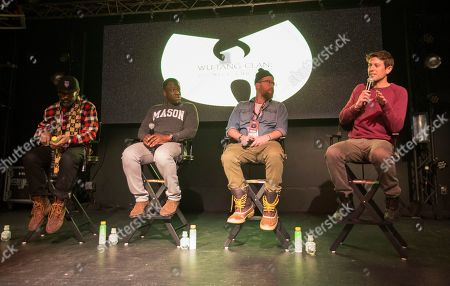 """Sacha Jenkins, Hans Charles, Peter Scalettar, Ben Lyons. Sacha Jenkins, Hans Charles, Peter Scalettar and Ben Lyons seen during the """"Wu-Tang Clan: Of Mics and Men"""" panel at the Last Call Presents the Complex Music in Film Summit, at Park City Live, in Park City, Utah"""