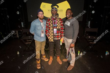 """Peter Scalettar, Sacha Jenkins, Hans Charles. Peter Scalettar, Sacha Jenkins and Hans Charles seen during the """"Wu-Tang Clan: Of Mics and Men"""" panel at the Last Call Presents the Complex Music in Film Summit, at Park City Live, in Park City, Utah"""