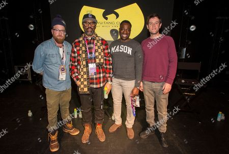 """Peter Scalettar, Sacha Jenkins, Hans Charles, Ben Lyons. Peter Scalettar, Sacha Jenkins, Hans Charles and Ben Lyons seen during the """"Wu-Tang Clan: Of Mics and Men"""" panel at the Last Call Presents the Complex Music in Film Summit, at Park City Live, in Park City, Utah"""