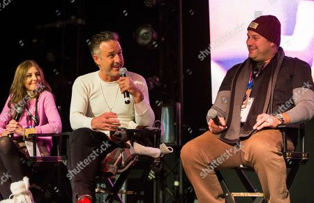 """Tonya Cornelisse, David Arquette, Max Adler. Tonya Cornelisse, David Arquette and Max Adler seen during the """"Mope"""" panel at the Last Call Presents the Complex Music in Film Summit, at Park City Live, in Park City, Utah"""