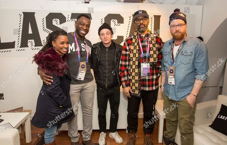 Shanola Hampton, Hans Charles, Jeremy Allen White, Sacha Jenkinsand Peter Scalettar in the Last Call booth during the Last Call Presents the Complex Music in Film Summit, at Park City Live, in Park City, Utah