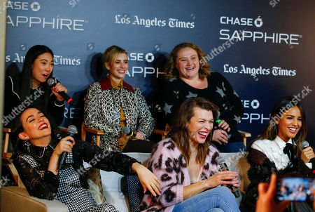 """Awkwafina, Emma Roberts, Danielle Macdonald, Alice Waddington, Milla Jovovich, Eliza Gonz'lez. Awkwafina, top left, Emma Roberts, Danielle Macdonald, Alice Waddington, bottom left, Milla Jovovich and Eliza González, laugh during a panel for """"Paradise Hills"""" at the LA Times Live at Sundance Film Festival presented by Chase Sapphire, in Park City, Utah"""