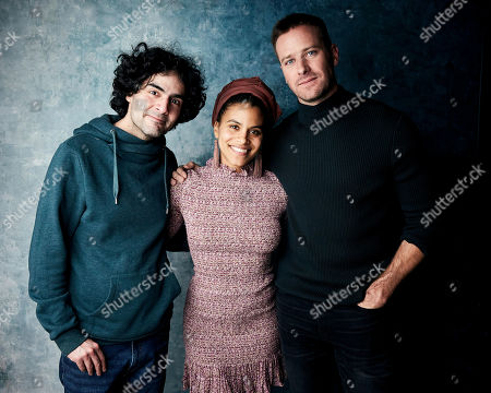 """Babak Anvari, Zazie Beetz, Armie Hammer. Writer/director Babak Anvari, from left, Zazie Beetz, and Armie Hammer pose for a portrait to promote the film """"Wounds"""" at the Salesforce Music Lodge during the Sundance Film Festival, in Park City, Utah"""
