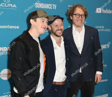Stock Image of United States/English actor Alex Sharp (L), German producer Fabian Gasmia (C) and Norwegian producer Ruben Thorkildsen (R) arrive for the premiere of 'Sunlit Night' at the 2019 Sundance Film Festival in Park City, Utah, United States, 26 January 2019. The festival runs from the 24 January to 02 February 2019.