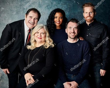 """Richard Kind, Paula Pell, Renee Elise Goldsberry, Rhys Thomas, Alexander Buono. Richard Kind, from left, Paula Pell, Renee Elise Goldsberry, executive producer Rhys Thomas, and Alexander Buono pose for a portrait to promote the series """"Documentary Now!"""" at the Salesforce Music Lodge during the Sundance Film Festival, in Park City, Utah"""