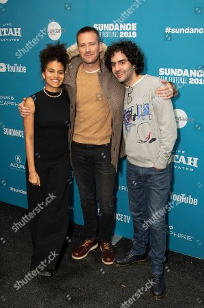 """Zazie Beetz, Armie Hammer, Babak Anvari. From left, actors Zazie Beetz and Armie Hammer and director Babak Anvari pose at the premiere of """"Wounds"""" during the 2019 Sundance Film Festival, in Park City, Utah"""