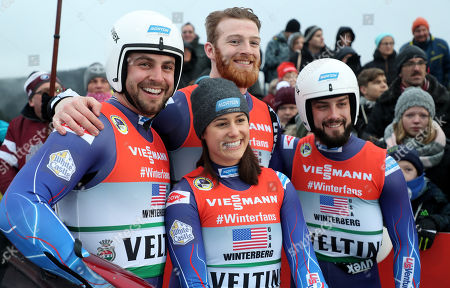 Jonathan Eric Gustafson, Emily Sweeney, Chris Mazdzer and Jayson Terdiman of the USA reacts in the finish area during the Luge World Championships Team Relay Race in Winterberg, Germany, 27 January 2019.