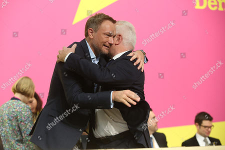 Christian Lindner, leader of the German Free Democrats (FDP) party (L), greets FDP member Wolfgang Kubicki at the FDP Europe Congress, where the party's candidate for the European Parliament is chosen, in Berlin, Germany, 27 January 2019. The next elections to the European Parliament will be held in May.