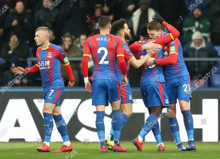 Connor Wickham of Crystal Palace celebrates scoring the opening goal with team-mates