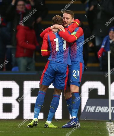 Connor Wickham of Crystal Palace celebrates scoring the opening goal with team-mate  Wilfried Zaha of Crystal Palace