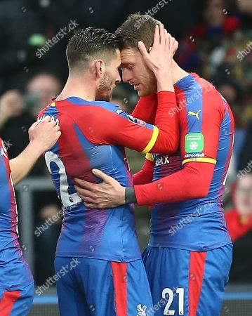 Connor Wickham of Crystal Palace celebrates scoring the opening goal with team-mate  Joel Ward of Crystal Palace