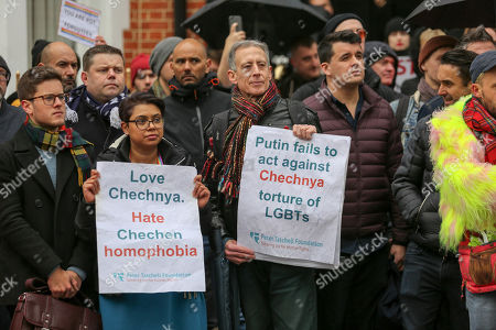 Peter Tatchell at protest outside the Russian consulate against the new wave of brutal attacks against LGBT+ people is taking place in Chechnya, Russia.