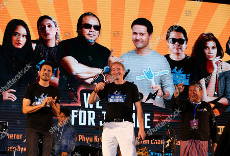 Myanmar actor Zann Kyi (L), EU Ambassador to Myanmar Kristian Schmidt (C) and Yangon Mayor Maung Maung Soe (R) greet during We Rock for Justice music concert in Yangon, Myanmar, 27 January 2019. We Rock for Justice music concert is a part of Pyaw Kya Mal (let?s talk), a multi-media campaign on justice issued in the public interest by MyJustice (funded by the European Union and implemented by the British Council).