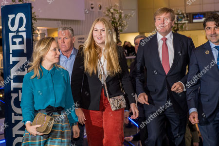 King Willem-Alexander, Princess Amalia of the Netherlands and Princess Margarita Maria Beatriz of Bourbon-Parma during the Jumping Amsterdam International horse show and dressage World Cup at the Amsterdam RAI