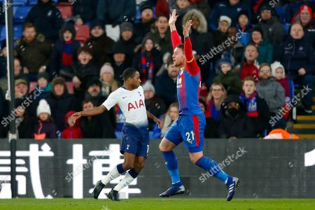 PENALTY Crystal Palace forward Connor Wickham (21) protests after Tottenham Hotspur defender Kyle Walker-Peters (16) blatant hand ball, during The FA Cup fourth round match between Crystal Palace and Tottenham Hotspur at Selhurst Park, London