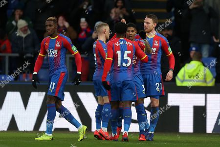 Connor Wickham of Crystal Palace is congratulated after scoring the first goal during Crystal Palace vs Tottenham Hotspur, Emirates FA Cup Football at Selhurst Park on 27th January 2019