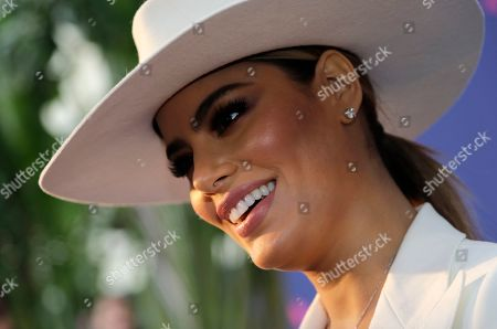 Stock Picture of Actress Ariadna Gutierrez, of Colombia, poses on the blue carpet at the Pegasus World Cup Invitational Horse Race, at Gulfstream Park in Hallandale Beach, Fla