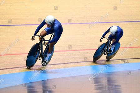 Shanaze Reade and Blaine Ridge-Davis compete in the Women's Team Sprint.