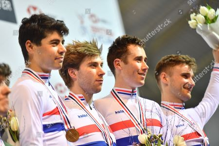 Charlie Tanfield, Jonathan Wale, John Archibald and Dan Bigham on the podium after winning gold in the Men's Team Pursuit.