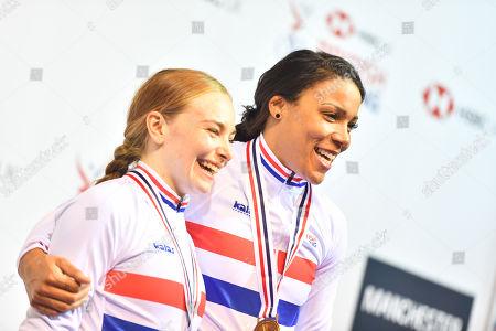 Blaine Ridge-Davis and Shanaze Reade on the podium after winning gold in the Women's Team Sprint.